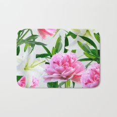 Pink Peonies & White Lilies Bath Mat