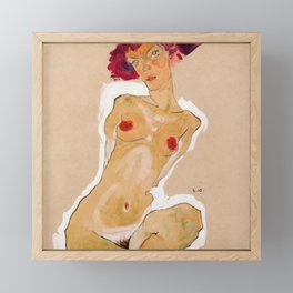 "Egon Schiele ""Squatting Female Nude"" Framed Mini Art Print"