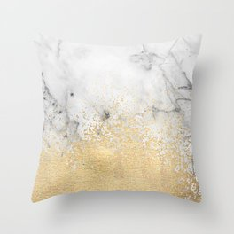 Gold Dust on Marble Throw Pillow