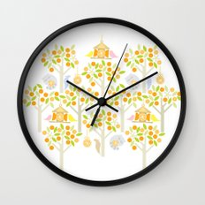 Birds And Oranges Wall Clock
