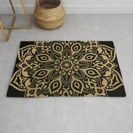 Elegant gold mandala on black Rug