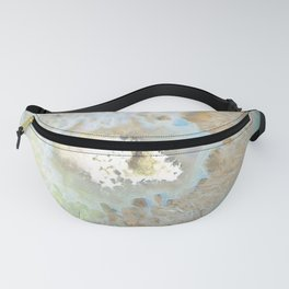 agate, quartz, crystal stone beige gold turquoise Fanny Pack
