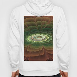 Abstract Flower Brown And Green, Fractal Art Hoody