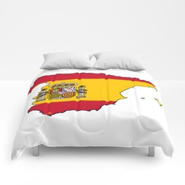 Spain Map with Spanish Flag Comforters