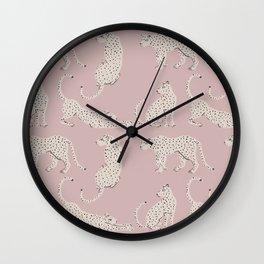 LEOPARD BLOCK PARTY - PINK Wall Clock