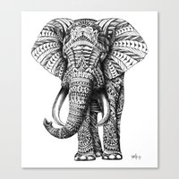 work hard Canvas Prints featuring Ornate Elephant by BIOWORKZ