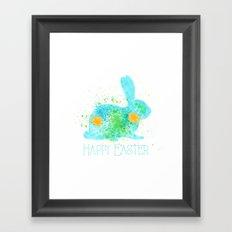 Happy easter - Blue Bunny Framed Art Print