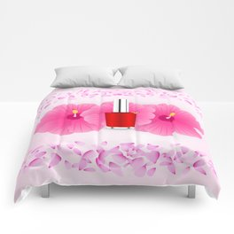 Pink floral makeup Comforters
