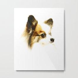 Cute Papillon Puppy Metal Print