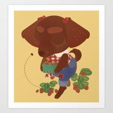 Strawberry Picker Art Print