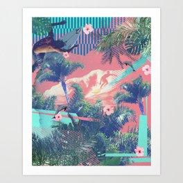 Surfing in Hawaii  Art Print