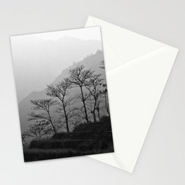 Misty mountains landscape in Vietnam | Trees in black and white fine art print Stationery Cards