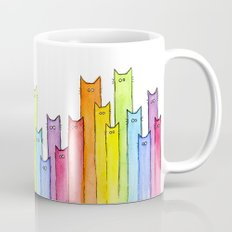 Rainbow of Cats Funny Whimsical Colorful Cat Animals Mug