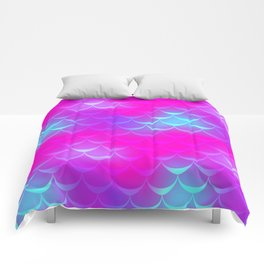 Pink and Blue Mermaid Tail Abstraction. Magic Fish Scale Pattern Comforters