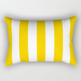 Tangerine yellow - solid color - white vertical lines pattern Rectangular Pillow