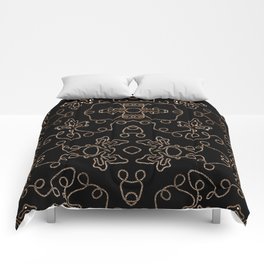 Elegant gold embellishments on black Comforters