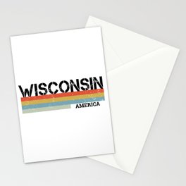 Retro Vintage Stripes Wisconsin Gift & Souvenir Graphic Stationery Cards