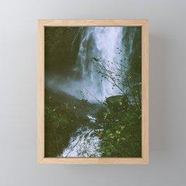 Waterfalls. Flowers. Nature. Framed Mini Art Print