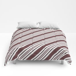 Pantone Red Pear and White Thick and Thin Angled Lines - Diagonal Stripes Comforters