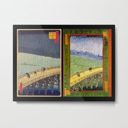 "Hiroshige,""Sudden Shower Over Shin-Ohashi Bridge and Atake"" & Van Gogh,""Bridge in the rain"" Metal Print"