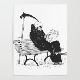 Grim reaper reading newspaper - cartoon skeleton - dark skull Poster