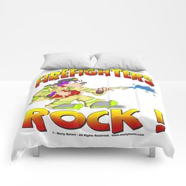 FIRE FIGHTERS ROCK Vibrant Haltone Edition Comforters