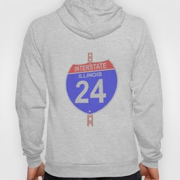 Interstate highway 24 road sign in Illinois Hoody