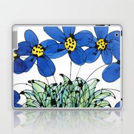 Seven Flowers (Blue): cheery original art in a loose style, simple flowers in a turquoise pot Laptop & iPad Skin