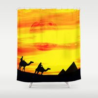 egyptian Shower Curtains featuring Egyptian supermoon by Pirmin Nohr