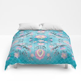 Folk Flowers in Pink and Dusty Blue Comforters