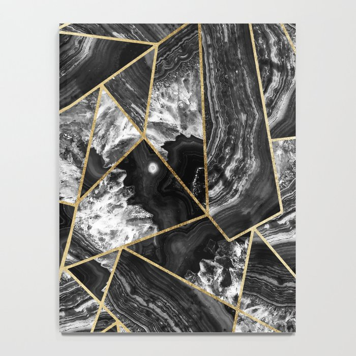 Black White Agate Black Gold Geometric Triangles Notebook
