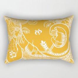 Ganesha Lineart Yellow White Rectangular Pillow