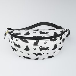 Black Cats and Paw Prints Pattern Fanny Pack
