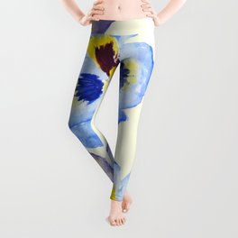 pansies pattern watercolor painting Leggings