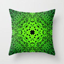 Royal ornament of green spots and velvet blots on black. Throw Pillow