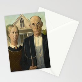 American Gothic Oil Painting by Grant Wood Stationery Cards