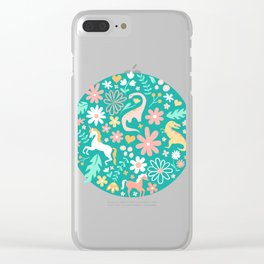 Dinosaurs + Unicorns on Teal Clear iPhone Case