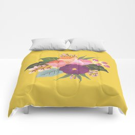 May Florals on Yellow Comforters