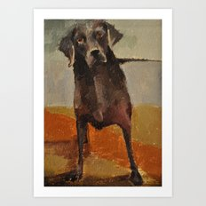 Funny Black Lab Art Print