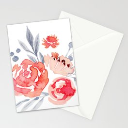 Watercolor Peach Floral Stationery Cards