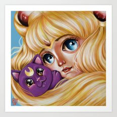 Sailor Moon and Luna Art Print