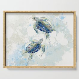 Swimming Together 2 - Sea Turtle  Serving Tray