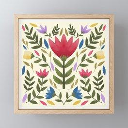 Modern Mexican Folk Art Inspired Floral Framed Mini Art Print
