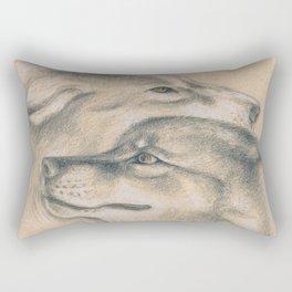 Wild Souls Snuggling Wolves Drawing Rectangular Pillow