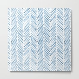 Baby blue watercolor herringbone  Metal Print