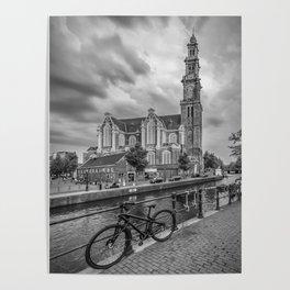 AMSTERDAM Westerkerk and Prinsengracht   monochrome Poster
