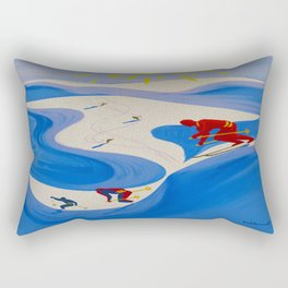 Vintage Winter Sports in France Travel Rectangular Pillow