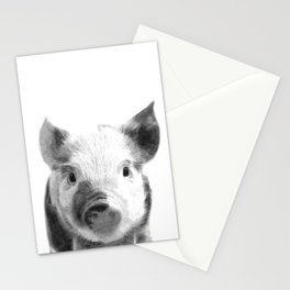 Black and white pig portrait Stationery Cards