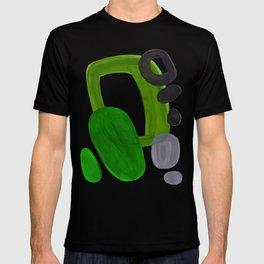 Mid Century Vintage 70's Design Abstract Minimalist Colorful Pop Art Olive Green Dark Green Grey T-shirt