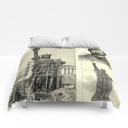 Statue of Liberty Construction Illustration Comforters